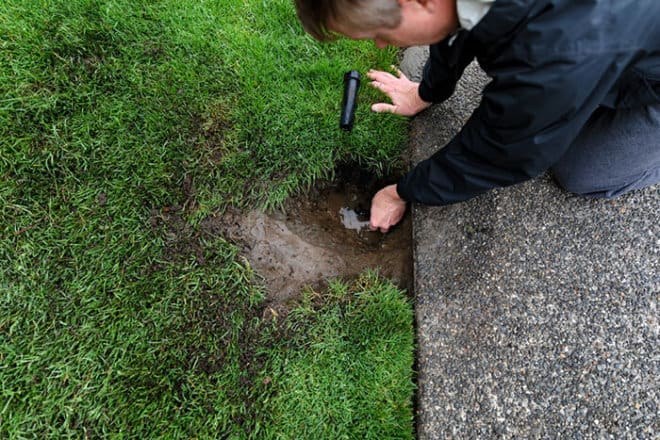 Sprinkler system being repaired by mature man with irrigation pa